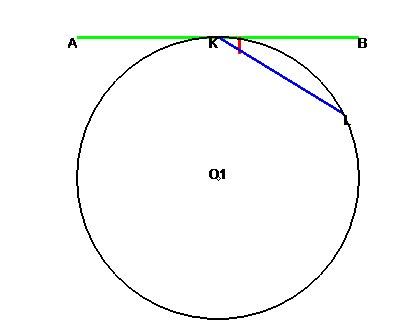 Геометрия. 8 класс. Угол между касательной и хордой